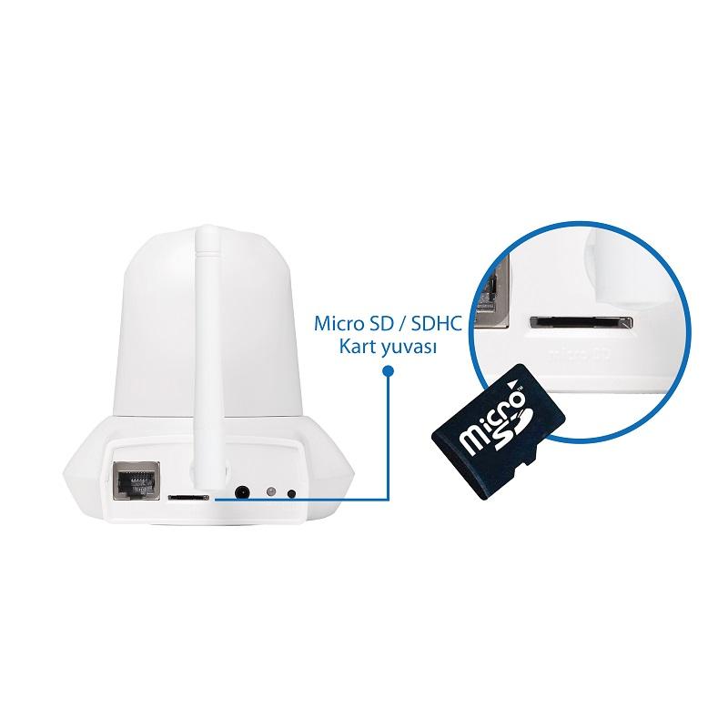 IC-7112W Smart HD Wi-Fi Pan/Tilt Network Camera, Day & Night, Free App, microSD