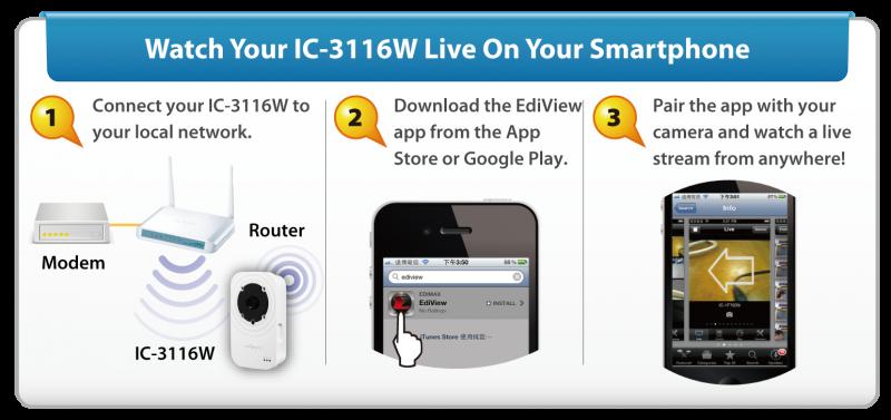 IC-3116W 720p Wireless H.264 Day & Night Network Camera IC-3116W_3-steps_installation2.png